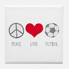 Peace Love Futbol Tile Coaster