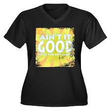 Ain't it Good Women's Plus Size V-Neck Dark T-Shir