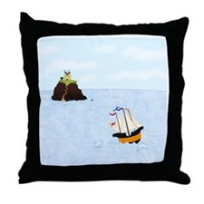 Sailing by the Castle Throw Pillow