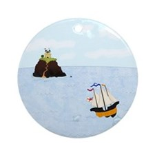 Sailing by the Castle Ornament (Round)