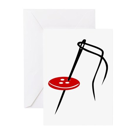 Needle - button Greeting Cards (Pk of 20)