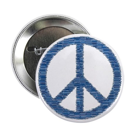 "Blue Peace Sign 2.25"" Button"