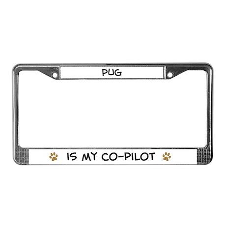 Co-pilot: Pug License Plate Frame