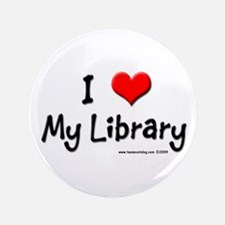 """I luv my Library 3.5"""" Button"""
