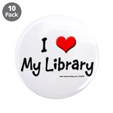 "I luv my Library 3.5"" Button (10 pack)"