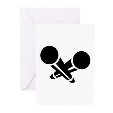 Microphones Greeting Cards (Pk of 10)