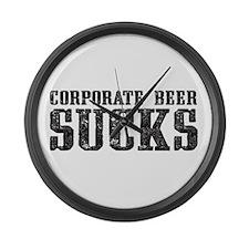 Corporate Beer Sucks. Large Wall Clock