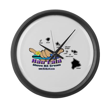 Hawaiian Islands with Logo Large Wall Clock