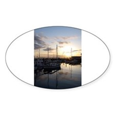 Boats at Sunset Vertical Decal