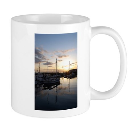 Boats at Sunset Vertical Mug