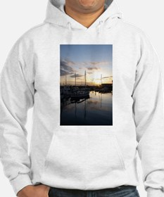 Boats at Sunset Vertical Hoodie