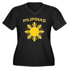 Philippines and Star Women's Plus Size V-Neck Dark