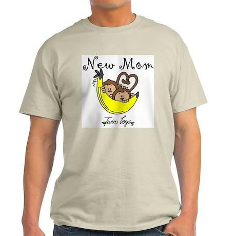 Monkeys Mom of Twin Boys Light T-Shirt