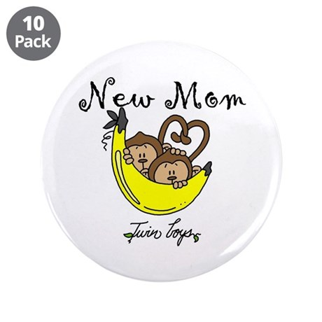 """Monkeys Mom of Twin Boys 3.5"""" Button (10 pack)"""