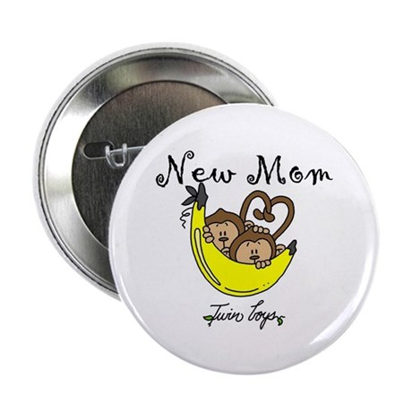 """Monkeys Mom of Twin Boys 2.25"""" Button (10 pack)"""