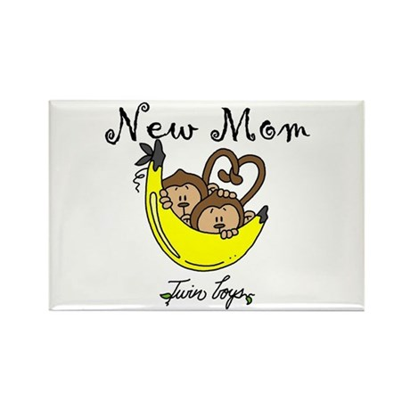 Monkeys Mom of Twin Boys Rectangle Magnet (10 pack