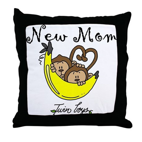 Monkeys Mom of Twin Boys Throw Pillow
