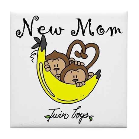 Monkeys Mom of Twin Boys Tile Coaster