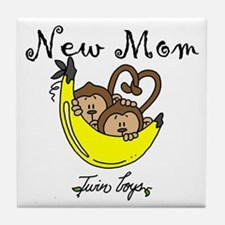 Monkeys Mom of Twin Boys Tile Coaster