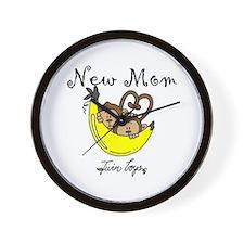 Monkeys Mom of Twin Boys Wall Clock