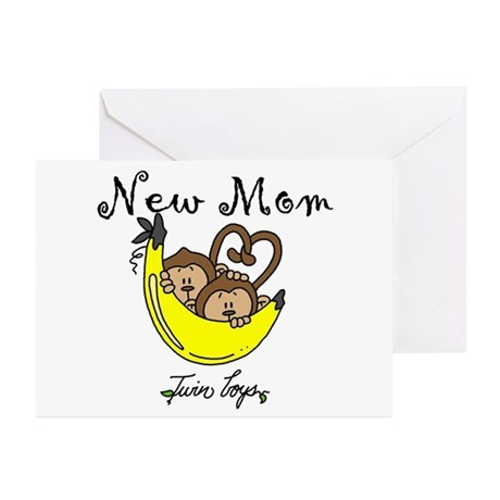 Monkeys Mom of Twin Boys Greeting Cards (Pk of 10)