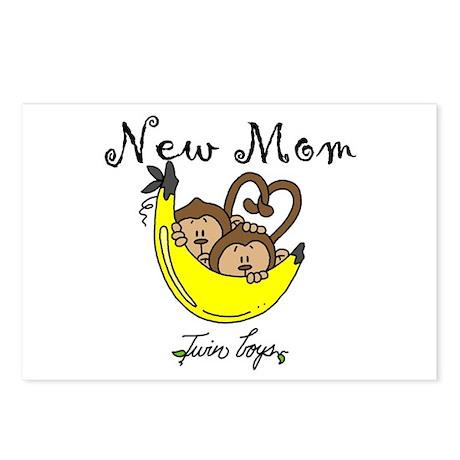 Monkeys Mom of Twin Boys Postcards (Package of 8)