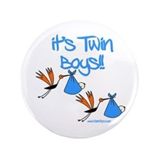 """It's Twin Boys with Storks 3.5"""" Button"""