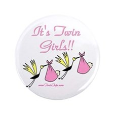 """It's Twin Girls with Storks 3.5"""" Button"""