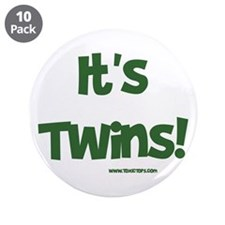 """It's Twins (Green) 3.5"""" Button (10 pack)"""