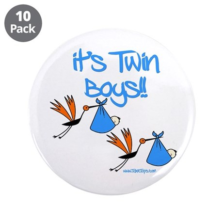 "It's Twin Boys with Storks 3.5"" Button (10 pack)"