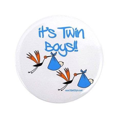 "It's Twin Boys with Storks 3.5"" Button (100 pack)"