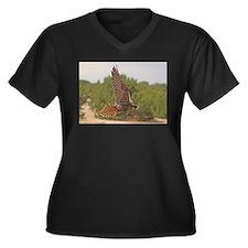 Unique New uncle Women's Plus Size V-Neck Dark T-Shirt