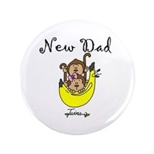 """New Dad of Twins 3.5"""" Button"""