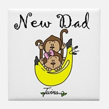New Dad of Twins Tile Coaster