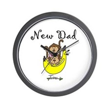 New Dad of Twins Wall Clock