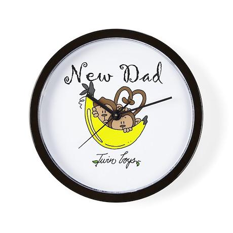 New Dad of Twin Boys Wall Clock