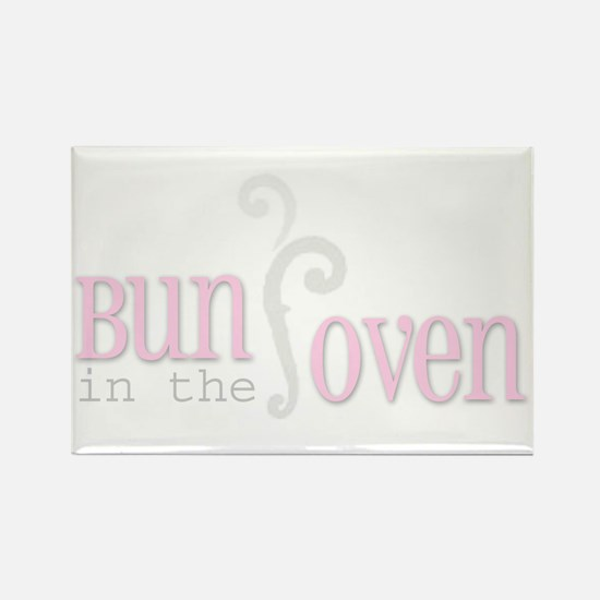 Bun in the Oven Pink Rectangle Magnet