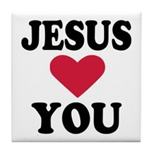 Jesus loves you Tile Coaster