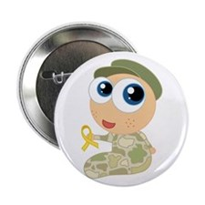 """Support Our Troops Yelllow Ribbon 2.25"""" Button"""