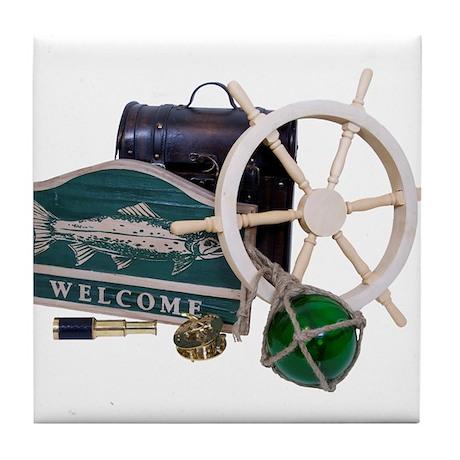 Welcome Nautical Tile Coaster