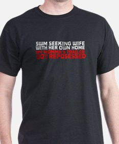 SWM Seeking Wife (for deadbeats) Black T-Shirt