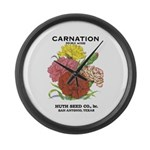 Vintage Carnation Seed Label Large Wall Clock