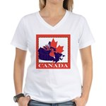 Canada Map with Maple Leaf Ba Women's V-Neck T-Shi