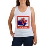 Canada Map with Maple Leaf Ba Women's Tank Top