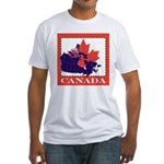 Canada Map with Maple Leaf Ba Fitted T-Shirt