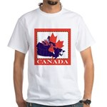 Canada Map with Maple Leaf Ba White T-Shirt