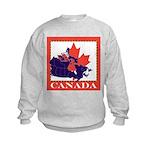 Canada Map with Maple Leaf Ba Kids Sweatshirt