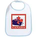 Canada Map with Maple Leaf Ba Bib