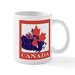 Canada Map with Maple Leaf Ba Mug