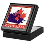 Canada Map with Maple Leaf Ba Keepsake Box